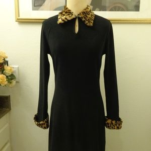 A.B.S Black Long Sleeve Faux Fur Collar Dress